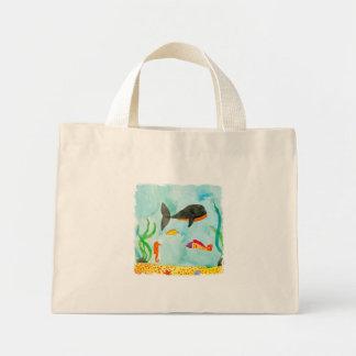 Bolsa Tote Mini Opinião do mar da aguarela com baleia e cavalo