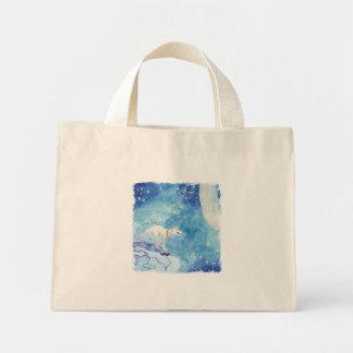 Bolsa Tote Mini Pintura criançola da aguarela com lobo nevado