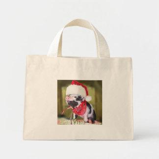 Bolsa Tote Mini Porco Papai Noel - porco do Natal - leitão