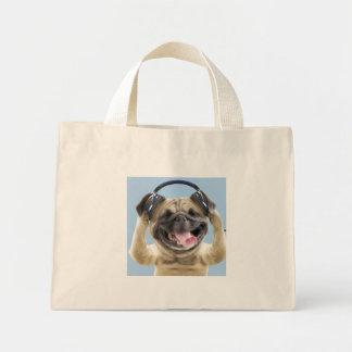 Bolsa Tote Mini Pug com fones de ouvido, pug, animal de estimação