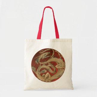 Bolsa Tote Mitologia do vintage, dragão asiático dourado