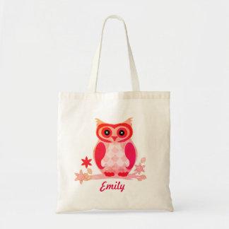 Bolsa Tote Miúdos cor-de-rosa personalizados da coruja