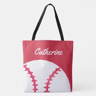 Bolsa Tote Miúdos personalizados vermelho do basebol ou do