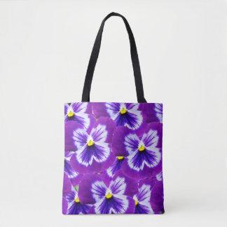 Bolsa Tote Moave_And_Purple_Pansies, _Full_Print_Shopping_Bag