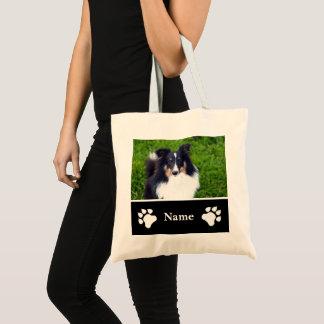 Bolsa Tote Modelo feito sob encomenda da foto do cão com nome
