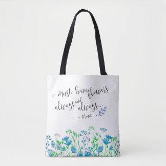 Bolsa Tote Monet eu devo ter o jardim sempre azul das flores