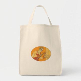 Bolsa Tote Mono linha do vintage fêmea da soldadura de