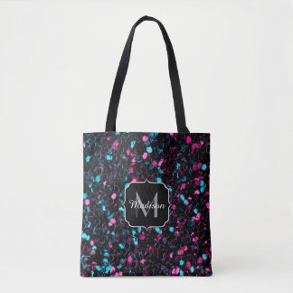 Bolsa Tote Monograma azul cor-de-rosa Sparkly dos sparkles do