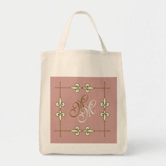 Bolsa Tote Monograma bonito do ornamento do lírio do art deco
