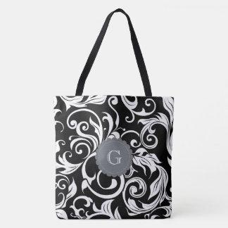 Bolsa Tote Monograma branco preto moderno do redemoinho do
