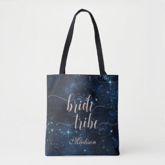 Bolsa Tote Monograma celestial do tribo da noiva da galáxia