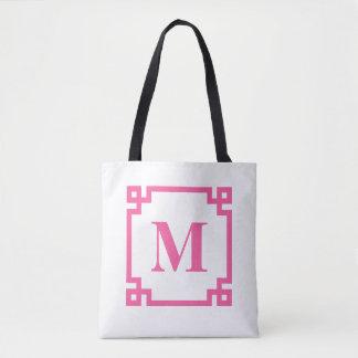 Bolsa Tote Monograma chave grego do costume da beira do rosa