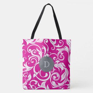 Bolsa Tote Monograma cinzento cor-de-rosa magenta moderno do