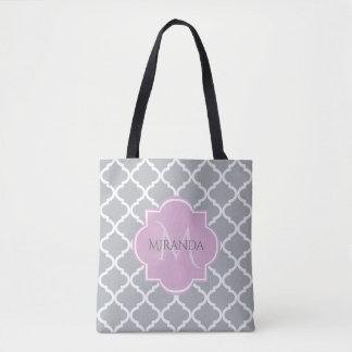 Bolsa Tote Monograma cinzento feminino e nome da lavanda de