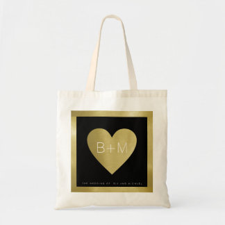 Bolsa Tote monograma clássico elegante, amor dos casamentos