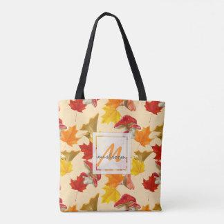 Bolsa Tote Monograma colorido das folhas e dos cogumelos de