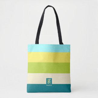 Bolsa Tote Monograma colorido fresco e feliz das listras