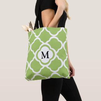 Bolsa Tote Monograma com teste padrão de Quatrefoil do verde