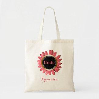 Bolsa Tote Monograma cor-de-rosa da festa de casamento da