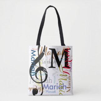 Bolsa Tote monograma da nota da música do clef de triplo com