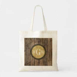 Bolsa Tote Monograma de madeira rústico das pranchas #1