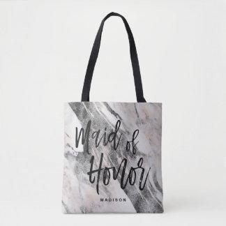 Bolsa Tote Monograma de mármore preto & cinzento moderno da