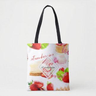 Bolsa Tote Monograma do amor dos doces da morango da aguarela