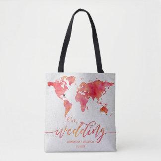 Bolsa Tote Monograma do casamento do destino do mapa do mundo