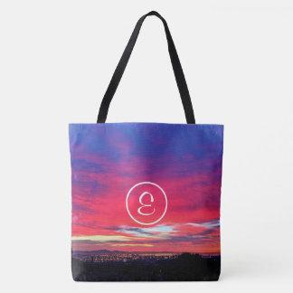 Bolsa Tote Monograma do costume da foto do nascer do sol do