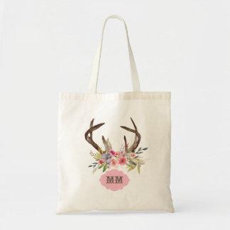 Bolsa Tote Monograma do costume das flores dos Antlers da