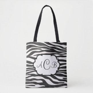 Bolsa Tote Monograma do impressão da zebra com seu próprio