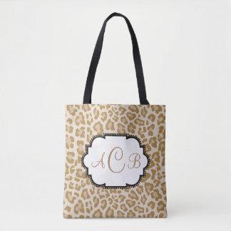 Bolsa Tote Monograma do impressão do leopardo com seu próprio