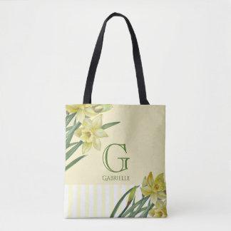 Bolsa Tote Monograma do retrato da flor dos Daffodils da