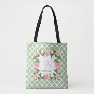 Bolsa Tote Monograma do rosa do rosa de Quatrefoil do verde