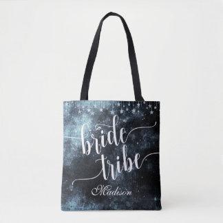 Bolsa Tote Monograma do tribo da noiva da noite estrelado da