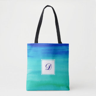 Bolsa Tote Monograma Dois-Tonificado azul da aguarela