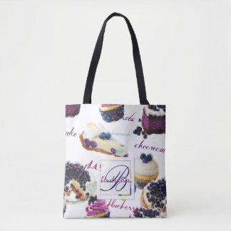 Bolsa Tote Monograma dos mirtilos e dos doces da aguarela