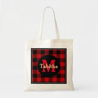 Bolsa Tote Monograma e nome vermelhos e pretos da xadrez