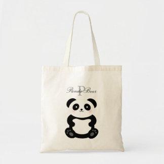 Bolsa Tote Monograma feminino bonito do urso de panda do bebê