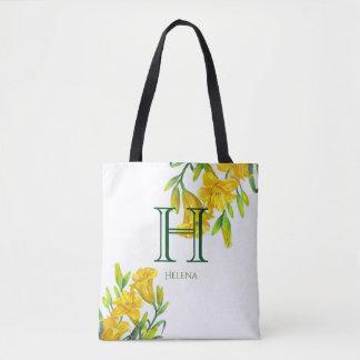 Bolsa Tote Monograma floral amarelo dos lírios de dia da