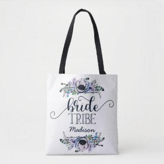Bolsa Tote Monograma floral chique do tribo da noiva da