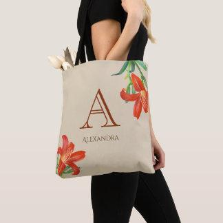 Bolsa Tote Monograma floral da arte do lírio alaranjado da