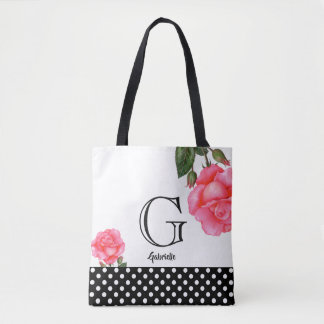 Bolsa Tote Monograma floral da arte dos rosas cor-de-rosa da