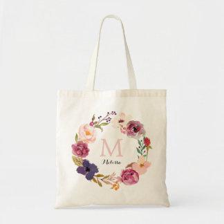 Bolsa Tote Monograma floral da grinalda da aguarela rústica