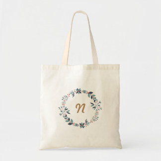 Bolsa Tote Monograma floral do costume da grinalda