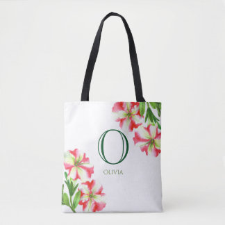 Bolsa Tote Monograma floral dos petúnias brancos cor-de-rosa