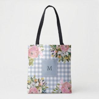 Bolsa Tote Monograma floral e azul da aguarela do guingão |