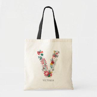 Bolsa Tote Monograma floral | lunático da letra da letra V