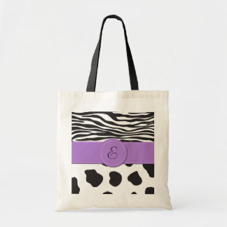 Bolsa Tote Monograma - impressão animal, vaca, zebra - branco