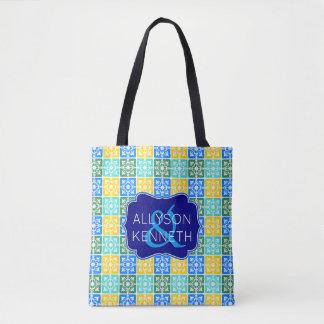 Bolsa Tote Monograma mediterrâneo dos azulejos da forma na
